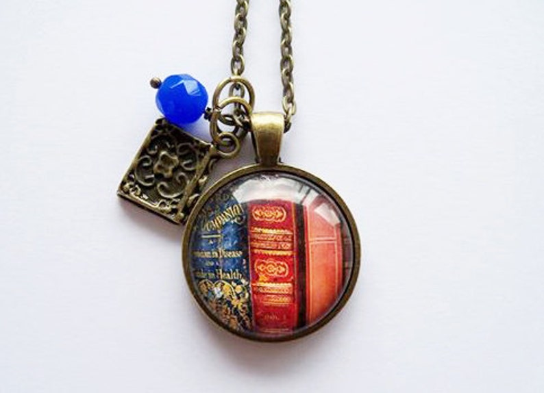 85c0e7eafcd Library Book Necklace Gift For Writer Librarian Pendant