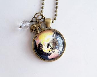 Globe Necklace - Far East Globe Pendant - Missions Jewelry - Adoption Jewelry - Travel Necklace - Black Globe Necklace - Map Travel Pendant