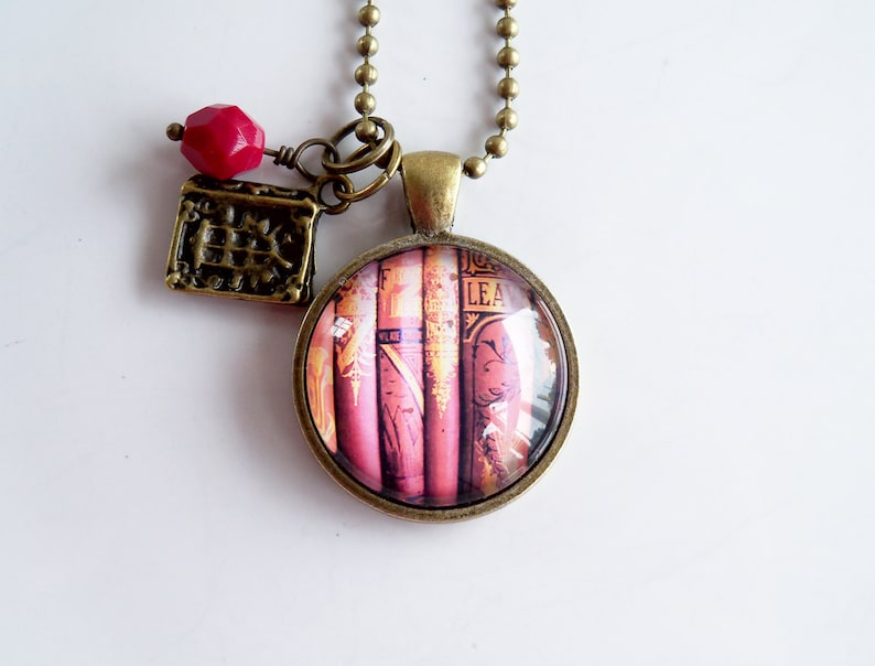 d1c2fc84255 Book Necklace Gift For Writer Librarian Pendant
