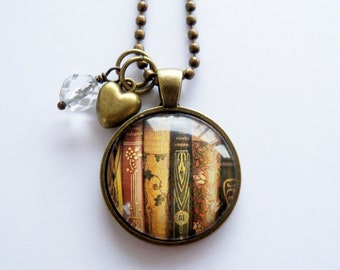 Book Necklace - Book Jewelry - Librarian Pendant Gift For Writer Bibliophile Book Lover Necklace Literary Jewelry Library Vintage Author