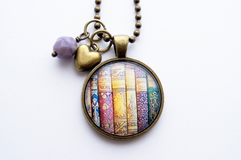 491cf483189 Book Necklace Gift For Teacher Librarian Pendant