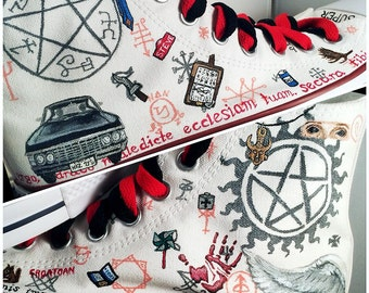 Supernatural Shoes -- LIMITED EDITION custom Chuck Taylor Converse  sneakers. Handpainted   customizable. d4cce29a5