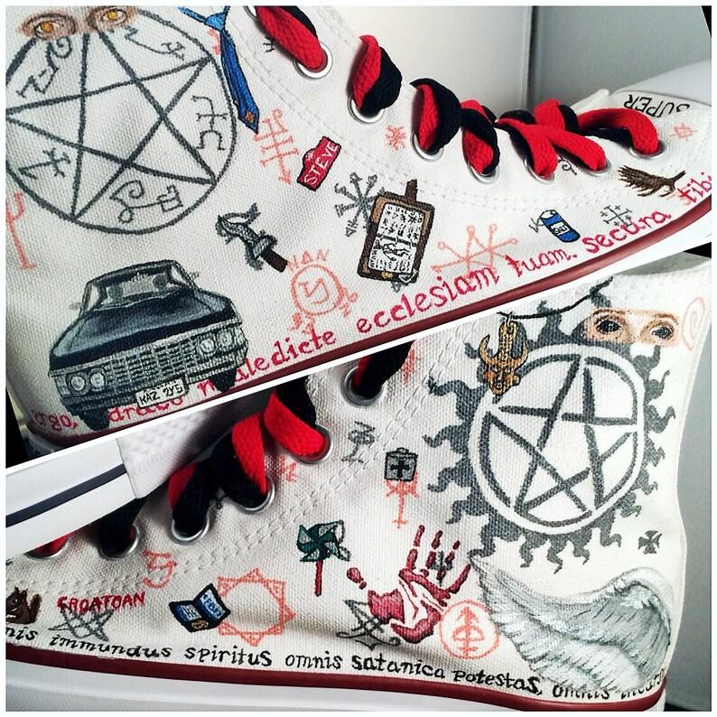 7283d6e6d99b02 Supernatural Shoes LIMITED EDITION custom Chuck Taylor