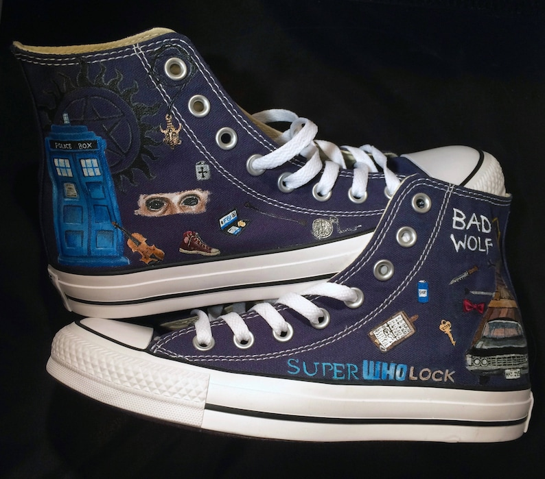 c8a40dff7918 SuperWhoLock shoes Hand painted custom Supernatural Doctor