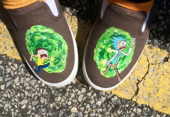 Handpainted Custom Vans Shoes Sneakers Adult Swim Rick and Morty Portal Run