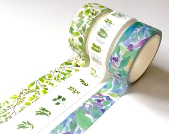 Watercolour Plant Leaves Deco Washi Tape | Japanese Stationery