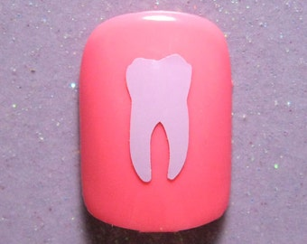 Tooth vinyl nail decals, nail stickers, planner stickers