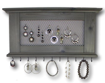 Jewelry Organizer Rustic Wall Mount Necklace Earring Jewelry Hanger Choose Your Color