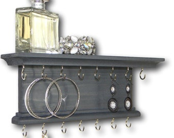Jewelry Organizer Necklace Bracelet Holder Modern Rustic Wall Mount
