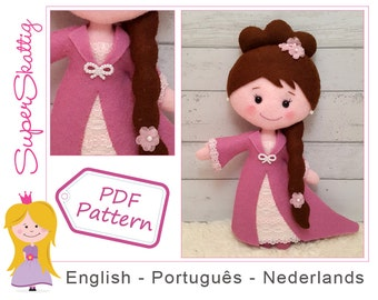 Felt pattern Princess Emma, softie pattern doll, plush pattern princess, pdf sewing pattern fairytale by Superskattig