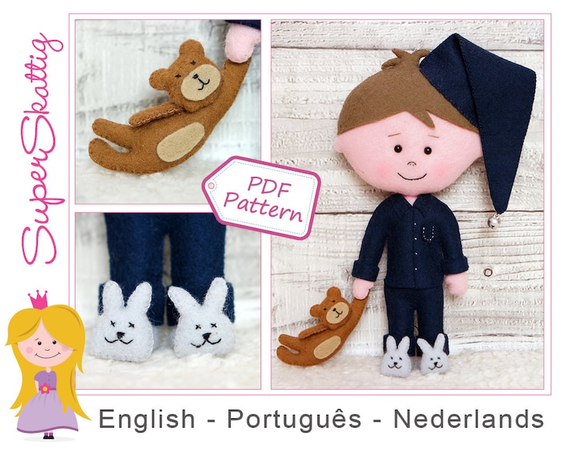 Duco And Teddy: boy doll sewing pattern with teddy bear and bunny slippers