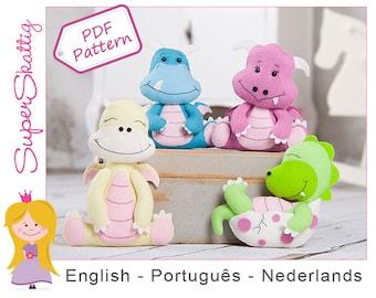 Felt pattern The baby dragons, softie pattern, plush pattern animal, pdf sewing pattern by Superskattig