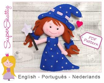 Felt pattern Rosa the Witch, softie pattern doll, plush pattern Halloween, pdf sewing pattern fairytale by Superskattig