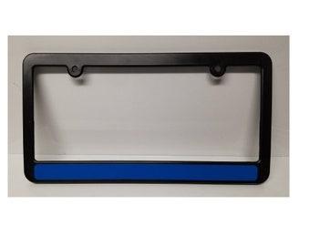 Thin Blue Line Police Flag Metal black Aluminium Car License plate frame holder