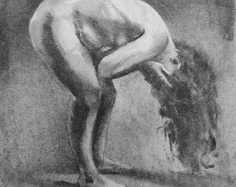 Small Figure Study #1 - Realistic Figure Study - Original Charcoal Drawing (Not a print)