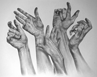 Many Hands- A3 - Original Graphite Drawing (Not a print)