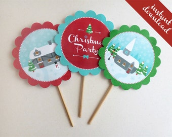 Christmas printable Cake or Food Toppers - 3 Vintage Village designs, use for decorating Christmas buffet table! Instant download