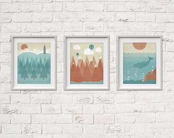 Habitats Printable Art set of 3 - instant download abstract vintage print artwork - Mountains, Oceans, Woodlands - housewarming gift