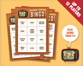 Channel Surfing TV Bingo Game for 12 players, Printable Party Game, Instant digital download - play using your television!