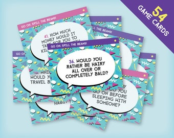 "1990s Hen Party Printable ""Spill the Beans"" Game Cards - nineties memphis design, confessions, hen night game, instant download!"