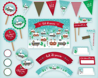 Christmas printable Party Pack / Kit: Vintage Village design - Bunting, Food toppers, Cupcake Wrappers - instant digital download