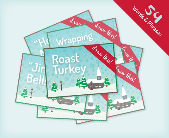 Party game Printable Christmas Forfeit Cards Vintage village design 18 forfeit cards plus blank cards instant download