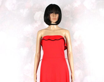 Vintage strapless evening dress 70's red Medium/Large