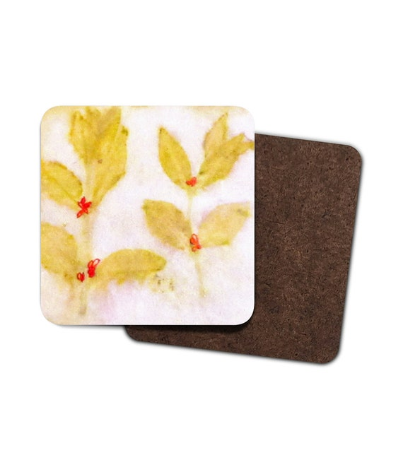 Square hardboard placemat with eco prints design