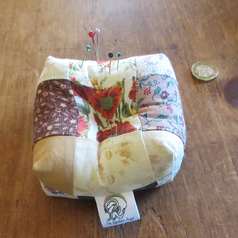 Patchwork pin cushion stuffed with polyester wadding image 0