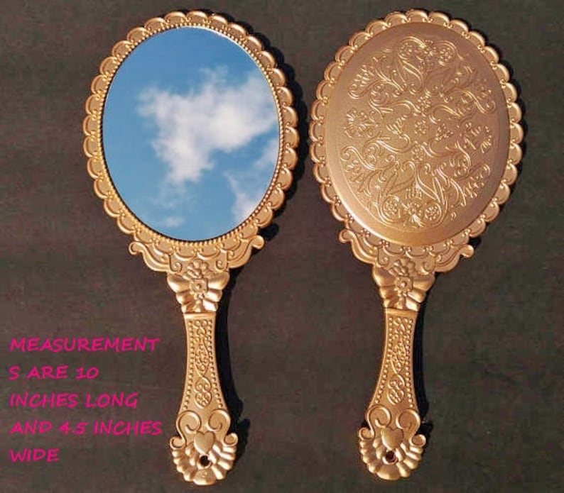 New Antique Gold Hand Held Mirrors Party Princess Handheld Etsy