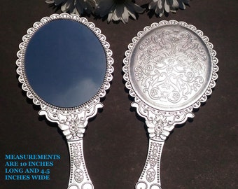 New Anique Silver Hand Held Mirrors, Princess Party Handheld Mirrors, Beauty & The Beast