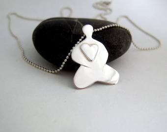 Sterling silver Buddha with heart pendant.