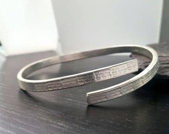 Sterling Silver brick textured open design bangle