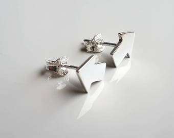 Tiny sterling silver stud earrings, Direction design