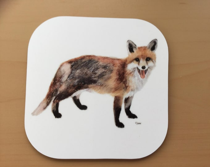 Featured listing image: A beautiful coaster with an image of a fox from a painting by wildlife artist, Carol Shaw. Very strong and durable laminate on wooden base