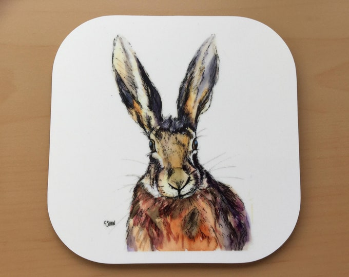 Featured listing image: Beautiful coaster with image of a hare by wildlife artist, Carol Shaw. Vwey strong and durable laminate on wooden base