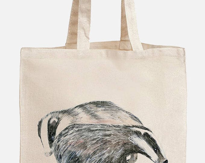Featured listing image: Eco friendly shopping bag with two friendly badgers