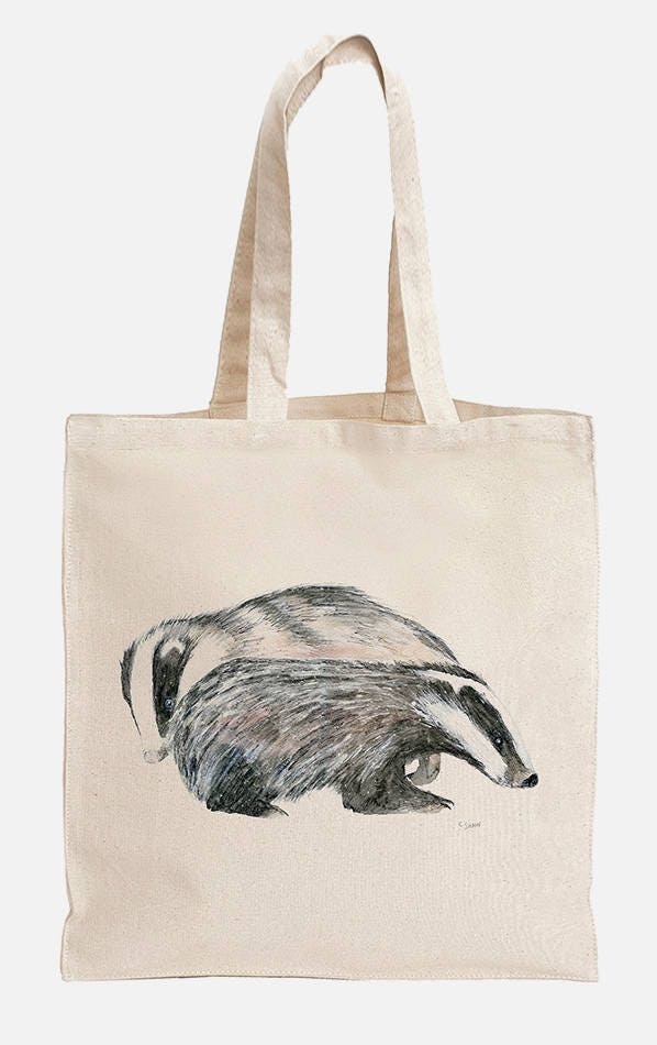 Badger Couple Illustration Eco Tote Bag ~ 100/% Organic /& Fairtrade Cotton with Long Handles