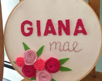 Customizable!! Embroidery hoop baby art with handmade felt flowers