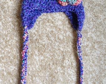 Crocheted Flower Earflap Hat, Newborn Flower Hat, Multicolor Flower Earflap Hat, Newborn Photo Prop