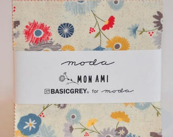 Charm pack DESTASH Mon Ami by Basic grey Basicgrey for MODA Fabrics cotton fabric Out of print hard to find