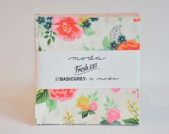 Charm pack DESTASH Fresh Cut by Basic grey Basicgrey for MODA Fabrics  cotton fabric Out of print hard to find
