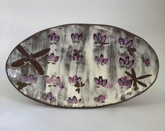 Purple Flower Oval Bowl