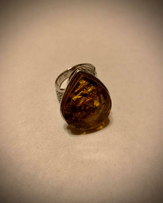 Polish Amber and Sterling Ring