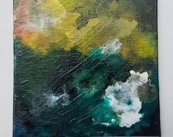 """Abstract Acrylic Painting titled- """"Late Day Seafoam"""""""
