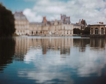 french chateau living room wall print, Fontainebleau castle // gallery photo// Blue Pastel Fine Art, Abstract Reflection Photography