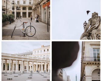 Paris Street Scene Square Print Set // Parisian Still Life // French Bike Wall Art. Gallery Photography // Place du Concorde Grand Palais