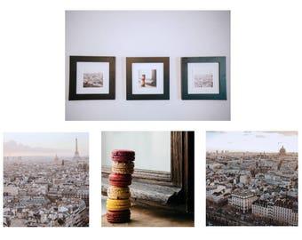 paris j'taime photo trio set // living room art // macaron eiffel tower skyline france city photography // 5x5 8x8 // teri b photography