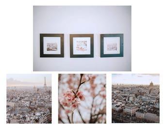 paris j'taime photo trio set // living room art // cherry blossom eiffel tower skyline france photography // 5x5 8x8 // teri b photography
