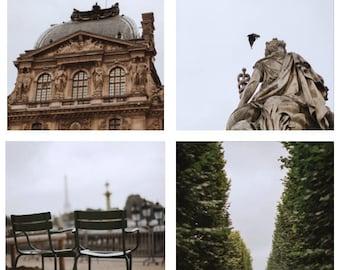 Paris Print Set Tuilleries Gardens // Fine Art Parisian Photography // French Living Room Art // Square Photo Set Louvre // Jardin Bird Tree